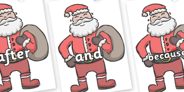 Connectives on Santas - Connectives, VCOP, connective resources, connectives display words, connective displays
