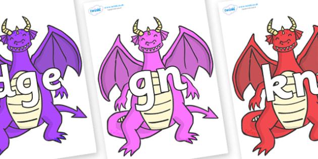 Silent Letters on Dragons (2) - Silent Letters, silent letter, letter blend, consonant, consonants, digraph, trigraph, A-Z letters, literacy, alphabet, letters, alternative sounds