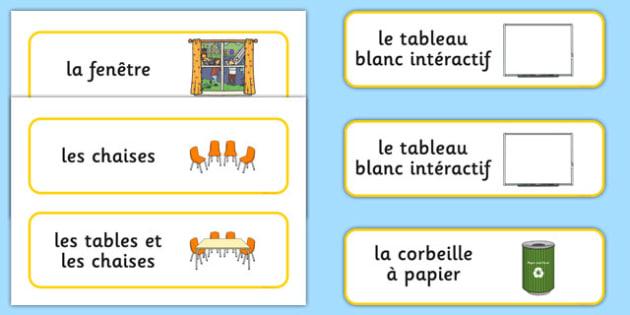 Classroom Furniture labels French - french, Classroom furniture, furniture label, door, chair, table, window, desk, carpet, bin, dustbin, whiteboard, chalkboard, classroom areas