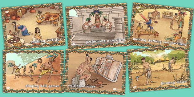 Mayan Civilisation Display Illustrations - maya, display, images
