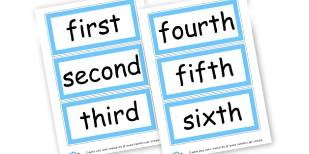 Ordinals-blue - Ordinal Numbers Primary Resources, ordering, numeracy, activities