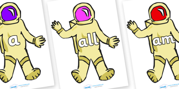 Foundation Stage 2 Keywords on Astronauts - FS2, CLL, keywords, Communication language and literacy,  Display, Key words, high frequency words, foundation stage literacy, DfES Letters and Sounds, Letters and Sounds, spelling