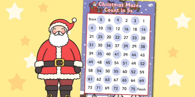 Christmas Counting in 5s Maze Activity - christmas, counting