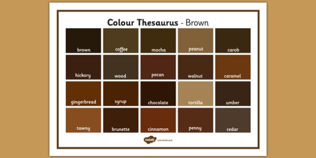Colour Thesaurus Word Mat Brown - colour thesaurus, colour, thesaurus, word mat, word, mat, brown