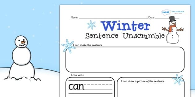 Winter Sentence Unscramble Worksheets - winter, sentence, game