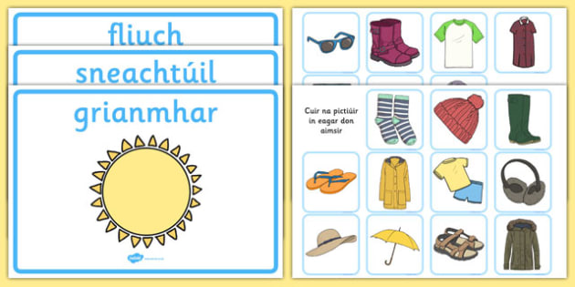 Weather Clothes Sorting Activity Gaeilge - clothes sorting activity, weather and the seasons, clothes, weather, seasons, clothes sorting, weather conditions