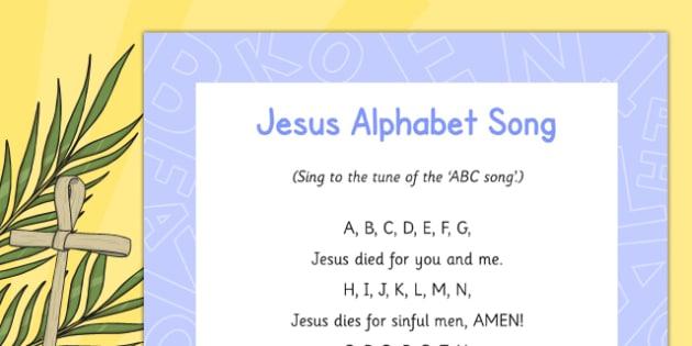 Jesus Alphabet Song - Easter, song, rhyme, jesus, alphabet song, alphabet