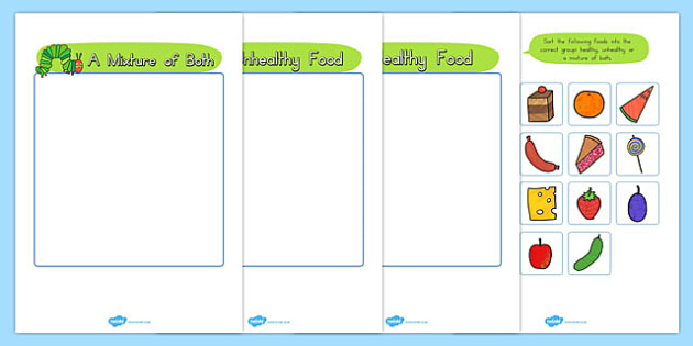 Healthy Eating Sorting Game to Support Teaching on The Very Hungry Caterpillar - The Very Hungry Caterpillar,  game, sorting, sort, activity, Eric Carle, resources, Hungry Caterpillar, life cycle of a butterfly, days of the week, food, fruit, story,