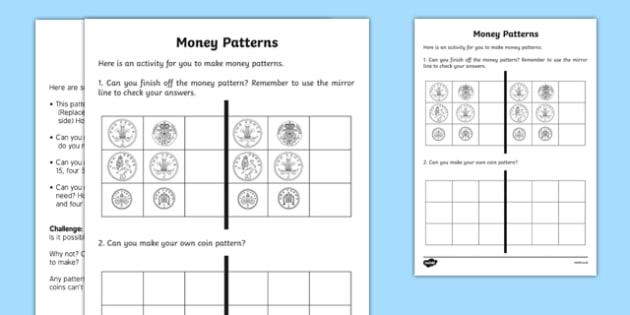 Money Patterns Activity - welsh, cymraeg, Money Patterns, Activity, Reasoning