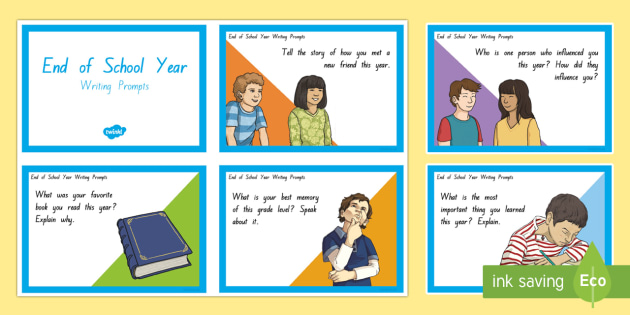 End of School Year writing and reflection Task Cards