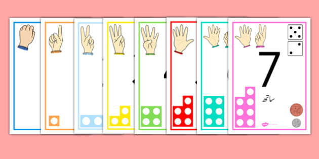 Visual Numberline Posters 1-20 Urdu - count, counting, counting aid, number line display, numberline display, countng, couting, coutning