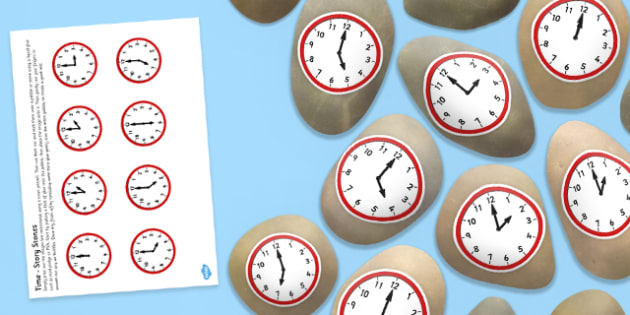 Time Themed Story Stones Image Cut Outs - time, story stones, image, cut outs