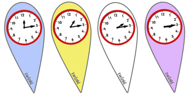 Analogue Time Fans (Quarter Past) - Time fan, fan, Time resource, Time vocaulary, clock face, Oclock, half past, quarter past, quarter to, shapes spaces measures