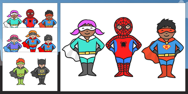 Cute Superhero Character Cut Outs - superhero, character, cut out