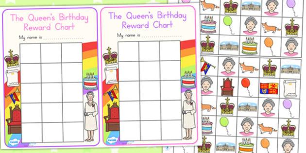 Queen's Birthday Sticker Reward Charts - awards, sticker chart