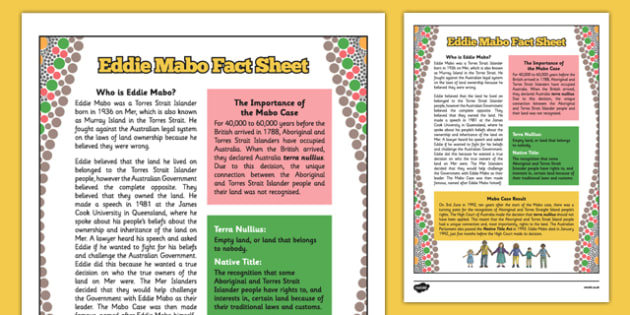 National Reconciliation Week Eddie Mabo Fact Sheet - australia, National Reconciliation Week, Eddie Mabo, factsheet, land, rights, ownership, Mabo case