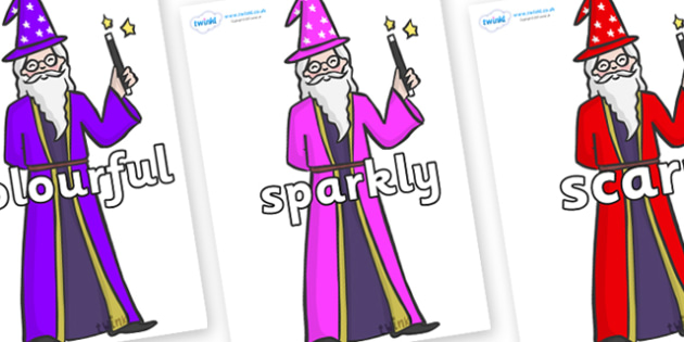 Wow Words on Wizards - Wow words, adjectives, VCOP, describing, Wow, display, poster, wow display, tasty, scary, ugly, beautiful, colourful sharp, bouncy
