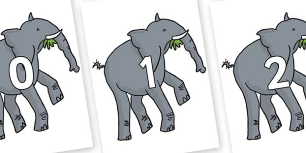 Numbers 0-31 on Trunky The Elephant to Support Teaching on The Enormous Crocodile - 0-31, foundation stage numeracy, Number recognition, Number flashcards, counting, number frieze, Display numbers, number posters