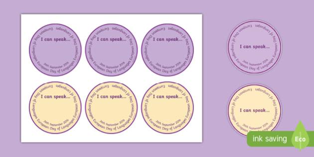 European Day of Languages I Can Speak Badges
