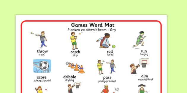 PE Games Word Mat Polish Translation - polish, pe, games, word mat, physical education, games