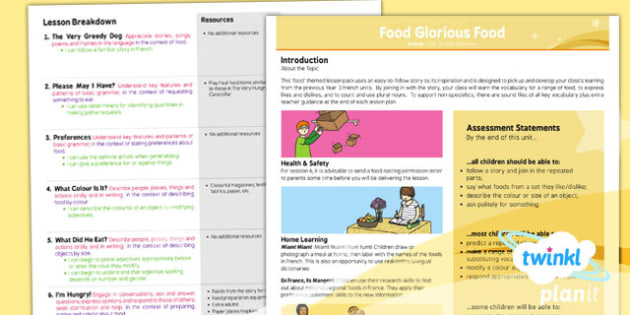 PlanIt - French Year 3 - Food Glorious Food Planning Overview - planit, french, year 3, food glorious food, planning overview