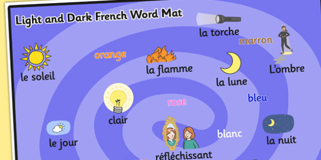 Light and Dark KS1 Word Mat French - Light, Dark, Word, French