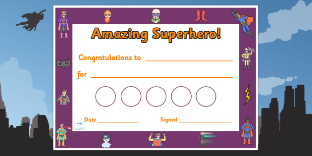 Superhero Themed Reward Certificate 30mm - superheroes, superhero, superhero reward certificates, superhero certificate, superhero sticker reward