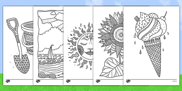 Adult Colouring Mindfulness Summer Sheets - summer, mindfulness, colouring, sheets