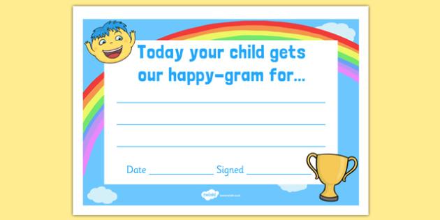 Happy Gram Certificate - happy gram, certificate, happy, gram, award, praise