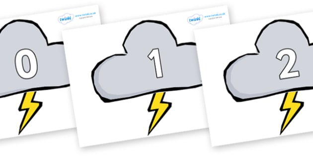 Numbers 0-50 on Weather Symbols (Stormy) - 0-50, foundation stage numeracy, Number recognition, Number flashcards, counting, number frieze, Display numbers, number posters