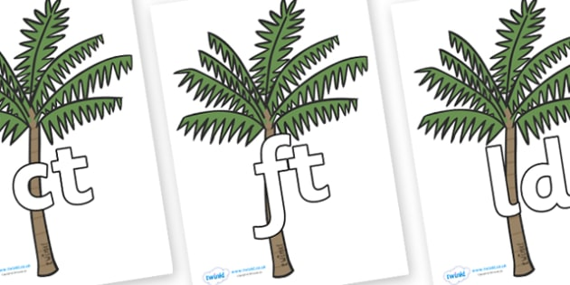 Final Letter Blends on Palm Trees - Final Letters, final letter, letter blend, letter blends, consonant, consonants, digraph, trigraph, literacy, alphabet, letters, foundation stage literacy