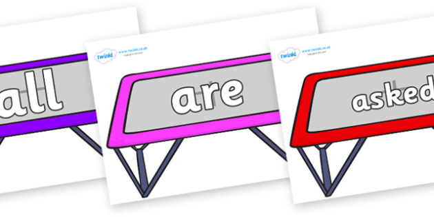 Tricky Words on Trampolines - Tricky words, DfES Letters and Sounds, Letters and sounds, display, words