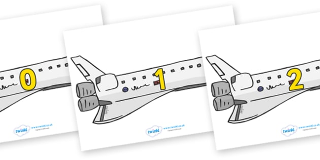Numbers 0-31 on Space Shuttles - 0-31, foundation stage numeracy, Number recognition, Number flashcards, counting, number frieze, Display numbers, number posters