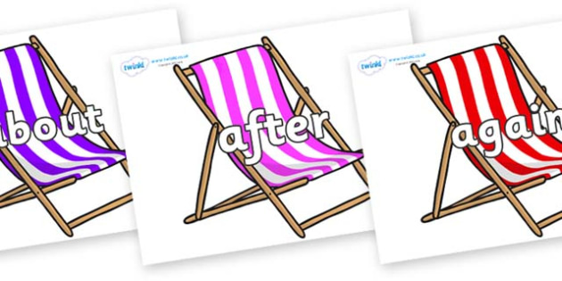 KS1 Keywords on Deck Chairs - KS1, CLL, Communication language and literacy, Display, Key words, high frequency words, foundation stage literacy, DfES Letters and Sounds, Letters and Sounds, spelling