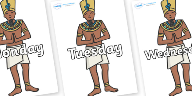 Days of the Week on Egyptian Priests - Days of the Week, Weeks poster, week, display, poster, frieze, Days, Day, Monday, Tuesday, Wednesday, Thursday, Friday, Saturday, Sunday