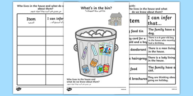 What's in The Rubbish Making Inferences Activity Arabic Translation - SEN, Inference, inferential question, inferential questions, inferrence