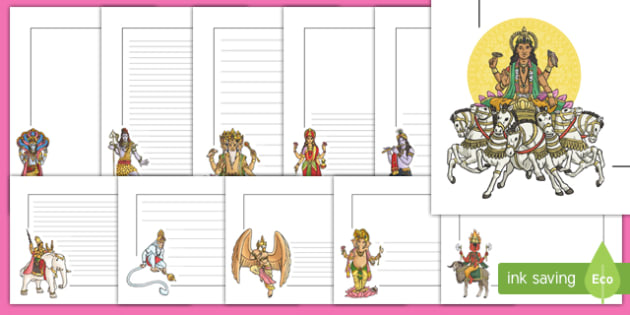 Hindu Gods Page Borders - writing aid, hinduism, religion, RE