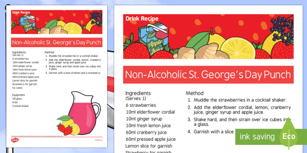 Elderly Care St George's Day Non-Alcoholic Drink Recipe - Elderly, Reminiscence, Care Homes, St. George's Day