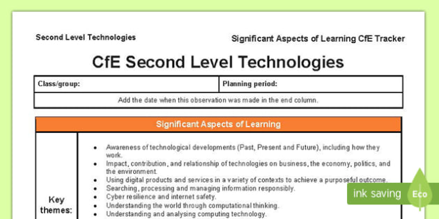 Technologies Significant Aspects of Learning and Progression Framework CfE Second Level Tracker-Scottish