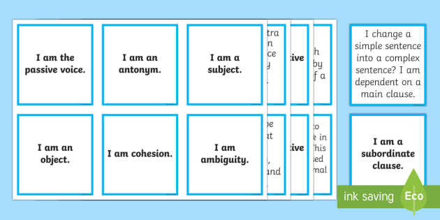 Vocabulary, Grammar and Punctuation Card Matching Game KS2 - vocabulary, grammar, punctuation, card, matching cards, match, matching, game, activity