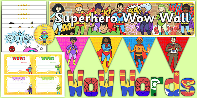 Superhero Wow Wall Ready Made Display Pack - EYFS, Early years, Wow cards, wow moments, transition