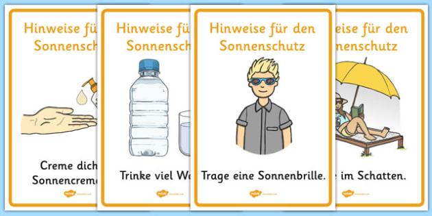 Hinweise für den Sonnenschutz - german, Sun safety, Sun, Summer, sunburn, Display Words, display, summer, fun in the Sun, Sun danger, sun hat , sunglasses