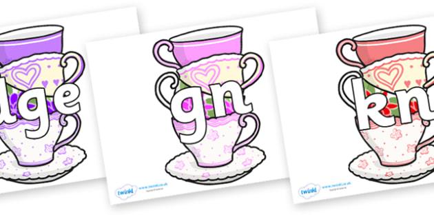 Silent Letters on Teacups - Silent Letters, silent letter, letter blend, consonant, consonants, digraph, trigraph, A-Z letters, literacy, alphabet, letters, alternative sounds