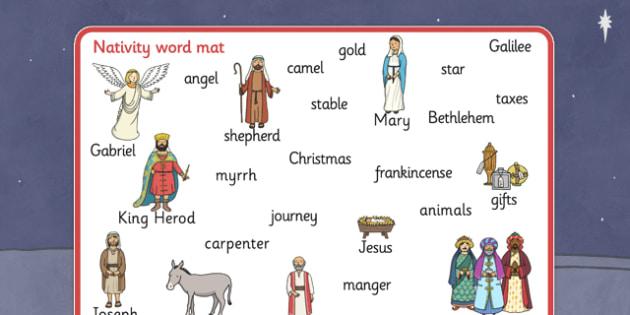 Nativity Word Mat - Nativity, Christmas, xmas, Word mat, writing aid, Mary, Joseph, Jesus, shepherd, wise men, Herod, angel, donkey, stable, Gabriel, First Christmas,Inn, Star, God