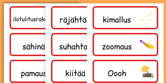 Chinese New Year Onomatopoeia Word Cards - australia, word cards - Finnish