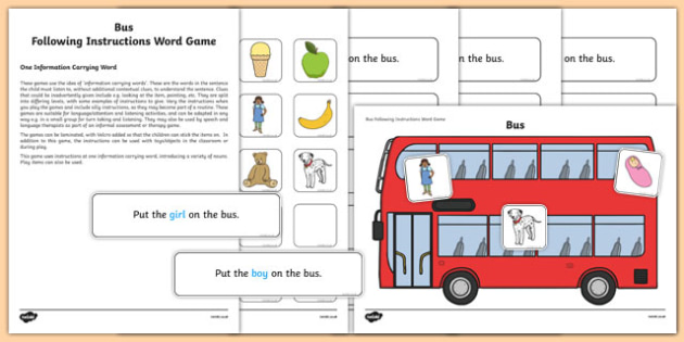 Bus Following Instructions – 1 ICW Game