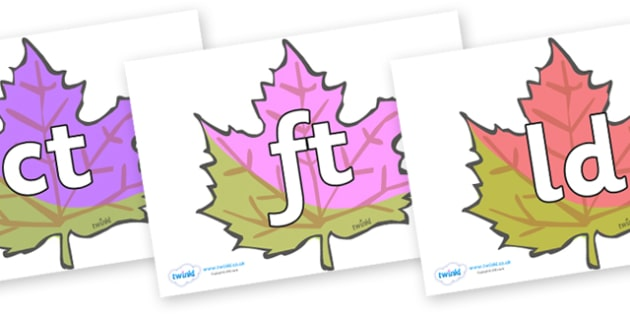 Final Letter Blends on Autumn Leaves - Final Letters, final letter, letter blend, letter blends, consonant, consonants, digraph, trigraph, literacy, alphabet, letters, foundation stage literacy
