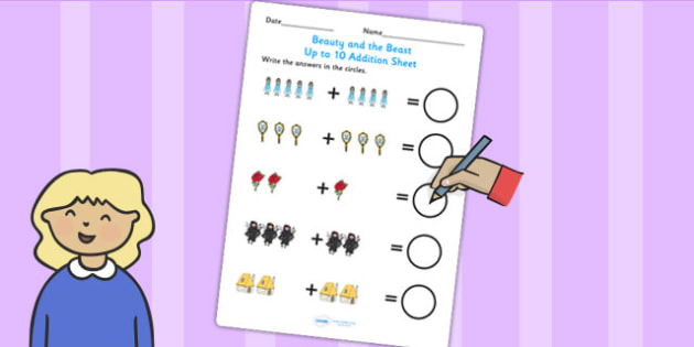 Beauty and the Beast Up to 10 Addition Sheet - add, adding, maths