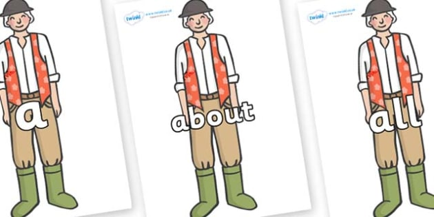 100 High Frequency Words on Farmer to Support Teaching on Pig in the Pond - High frequency words, hfw, DfES Letters and Sounds, Letters and Sounds, display words