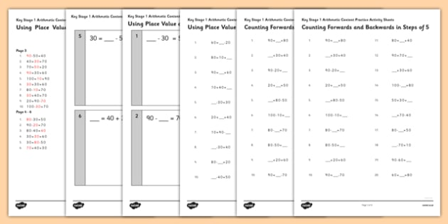 KS1 Arithmetic Content Activity Sheet Pack Using Place Value and Number Facts to Solve Problems - Maths, KS1, Key Stage 1, Arithmetic, place value, number facts, worksheet